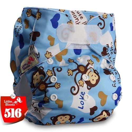 [Littles&Bloomz] Один размер многоразовые тканевые подгузники Моющиеся Водонепроницаемые Детские карманные подгузники стандартная застежка на липучке - Цвет: 516