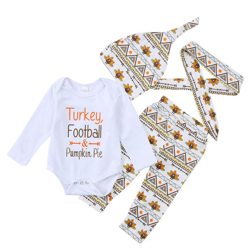 4pcs/Set Newborn Spring Autumn Clothing Baby Turkey Letter Print Long Sleeves Jumpsuit + Pants + Hat + Headband Outfits ...