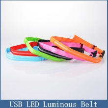USB LED Luminous Belt for Riding Mountaineering safety, Warning Belt Night running Flash Belt with power cable