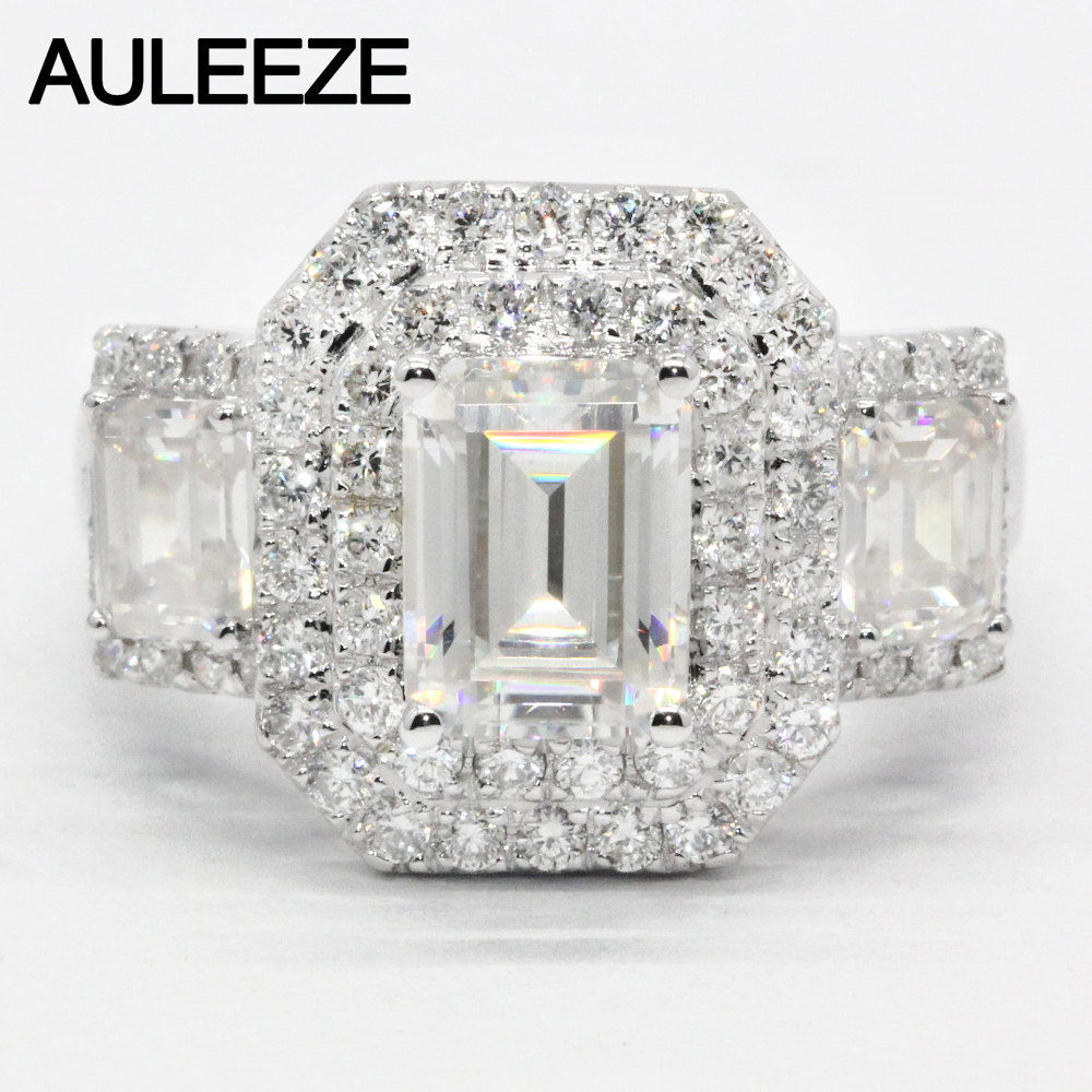 AULEEZE Luxury 2carat Moissanite Ring Solid 18K White Gold Engagement Ring Emerald Cut Lab Grown