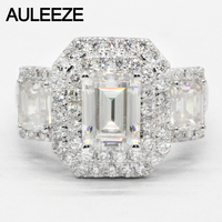 AULEEZE Luxury 2carat Moissanite Ring Solid 18K White Gold Engagement Ring Emerald Cut Lab Grown Diamond Wedding Ring For Women