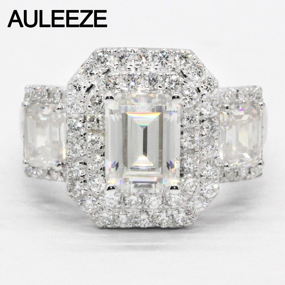 AULEEZE Luxus 2 carat Moissanite Ring Fester 18 K Weiß Gold Engagement Ring Smaragd Cut Lab Grown Diamant Hochzeit Ring für Frauen