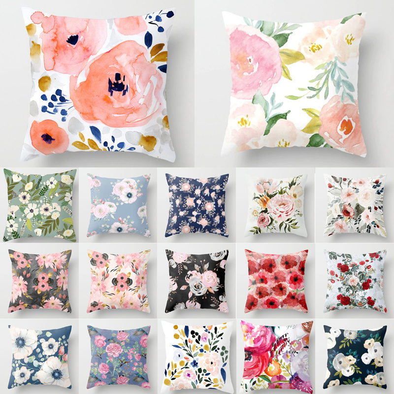 Flower Pattern Decorative Cushion Cover Pillow Pillowcase Polyester 45*45 Throw Pillows Home Decor Pillowcover 40844