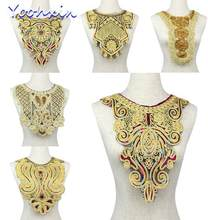 HOT gold sequin cotton embroidery Lace Ribbon fabric 3D trim collar sewing DIY guipure women dress Cloth Dubai wedding decor(China)