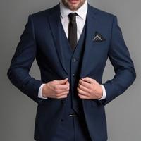 Navy Blue Formal Wedding Tuxedos for Gentleman Prom Slim Fit 3 Piece Notched Lapel Custom Men Suits Set Jacket Pants Vest New