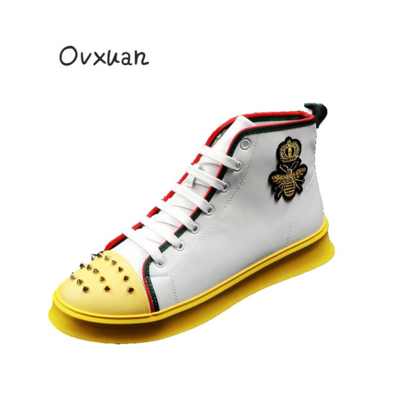2019 Men Casual Rivet Loafers Street Dance Hip Hop Sneakers Embroideried Crown High Top Platform Male