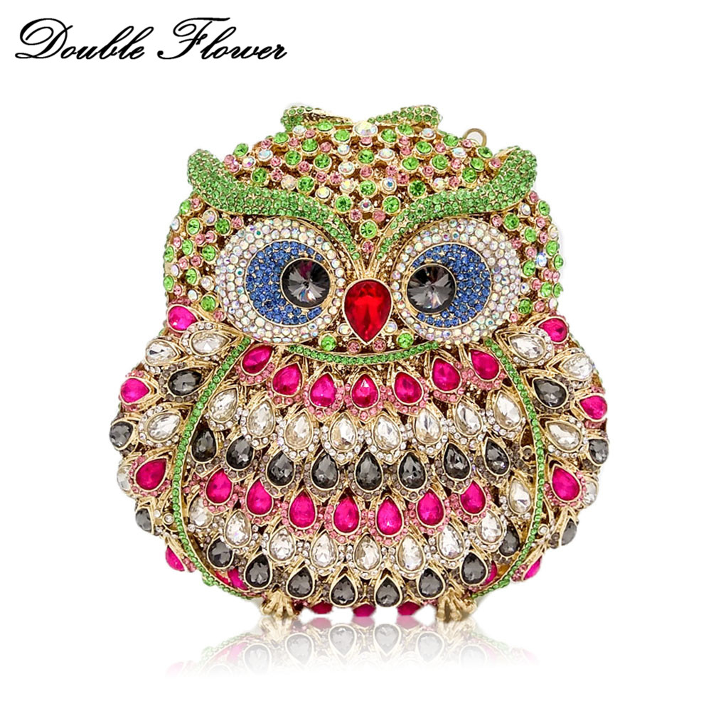Double Flower Hollow Out 3D Owl Shape Women Diamond Evening Clutch Bag Hardcase Metal Wedding Dinner Crystal Minaudiere Handbag fashion colorful striped pattern square shape pillowcase without pillow inner