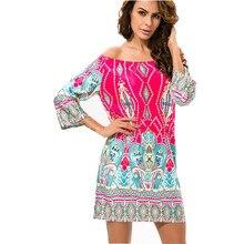 Fashion European Style Robe Dress Flower Print Woman Clothes Vestidos Casual Bohemian Female Beach Summer Night Club Party Dress