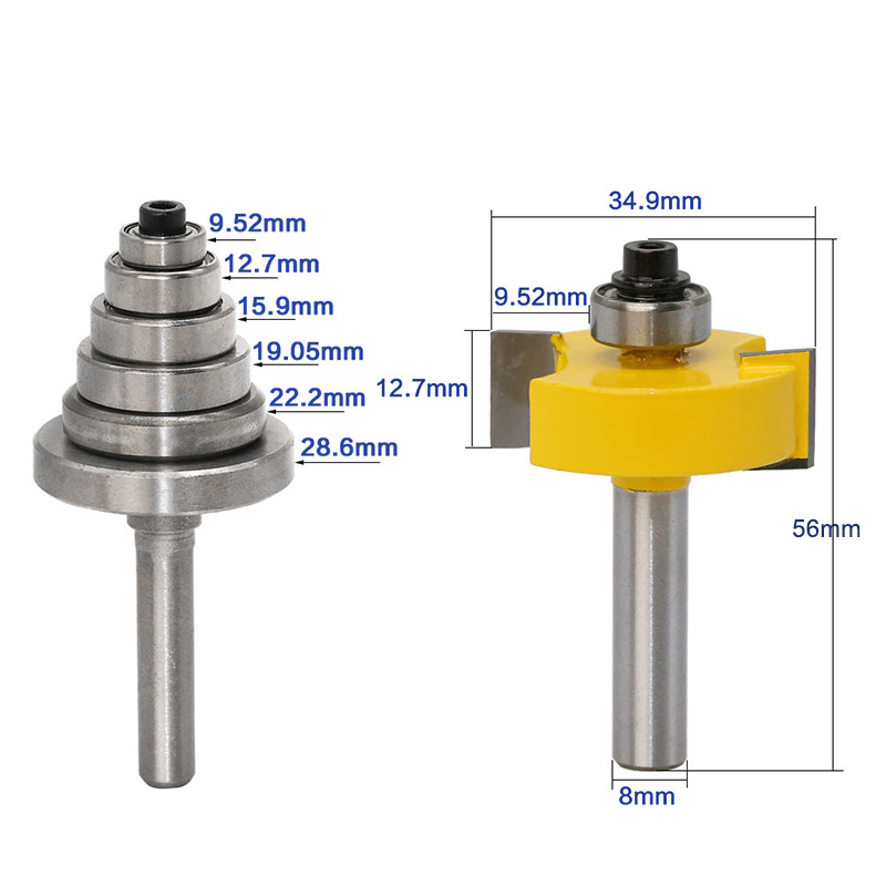 1 Pc Carbide Rabbet Router Bit Set 7 Bearings Set 8mm Shank For Woodworking