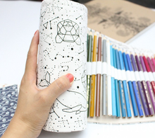 Simple and portable 36/48 Holes Big Constellation Pencil Case Canvas Roll Pouch Pencilcase Sketch Brush pen Pencil Bag Tools(China)