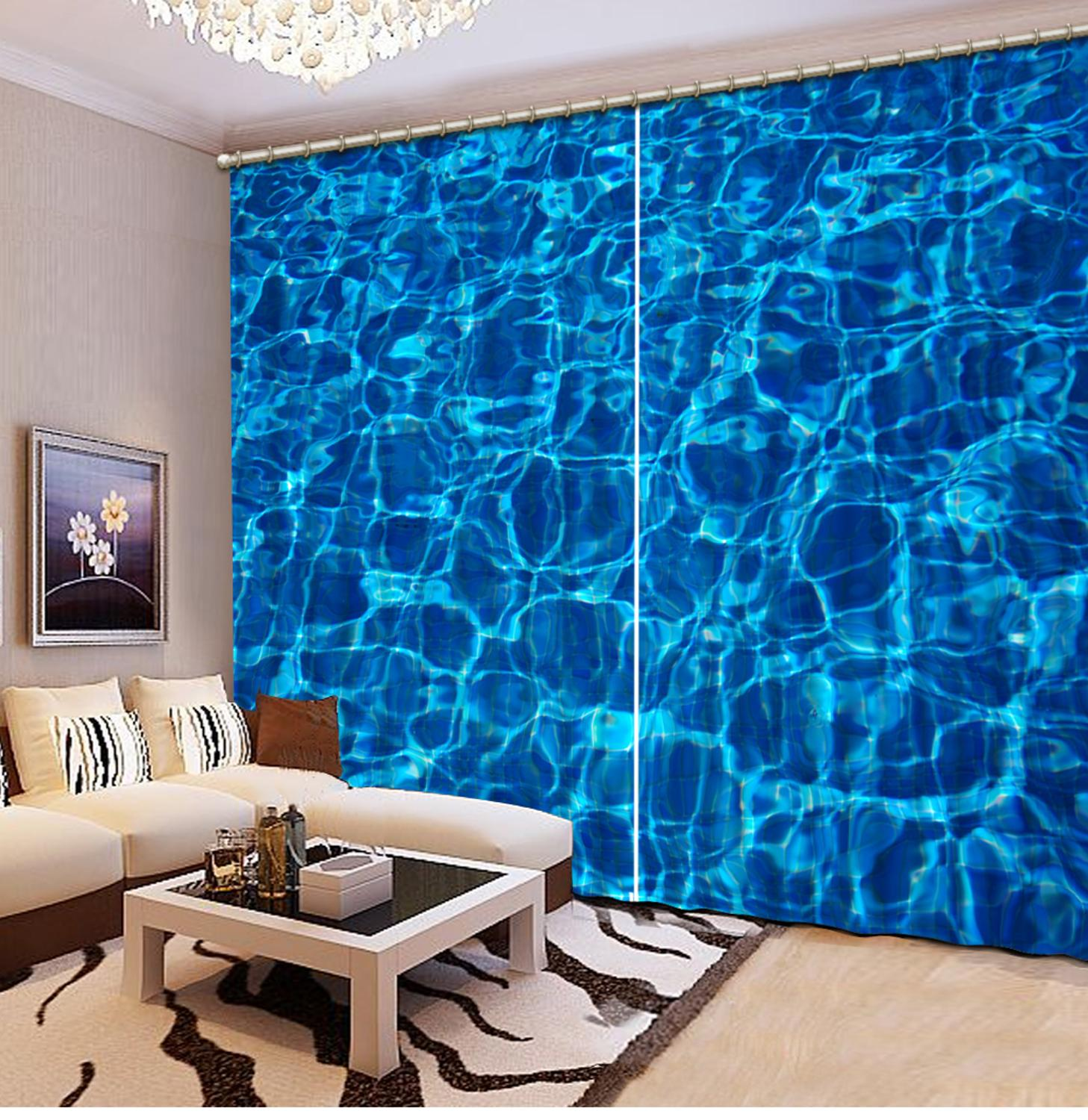 Customized size Luxury Blackout 3D Window Curtains For Living Room wave curtains blue curtainCustomized size Luxury Blackout 3D Window Curtains For Living Room wave curtains blue curtain