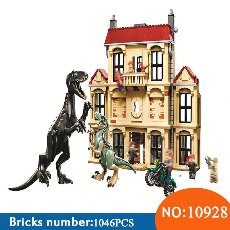 1046 10928 шт. мир Юрского периода Динозавр Indoraptor Rampage на Lockwood Estate Building Block игрушечные лошадки для детей 75930
