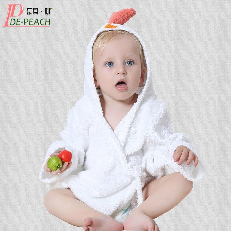 Solid Fashion Hooded Kids Bath Robe Animal Modeling Baby Bathrobe Cartoon Baby Towel Character Infant Beach Towels