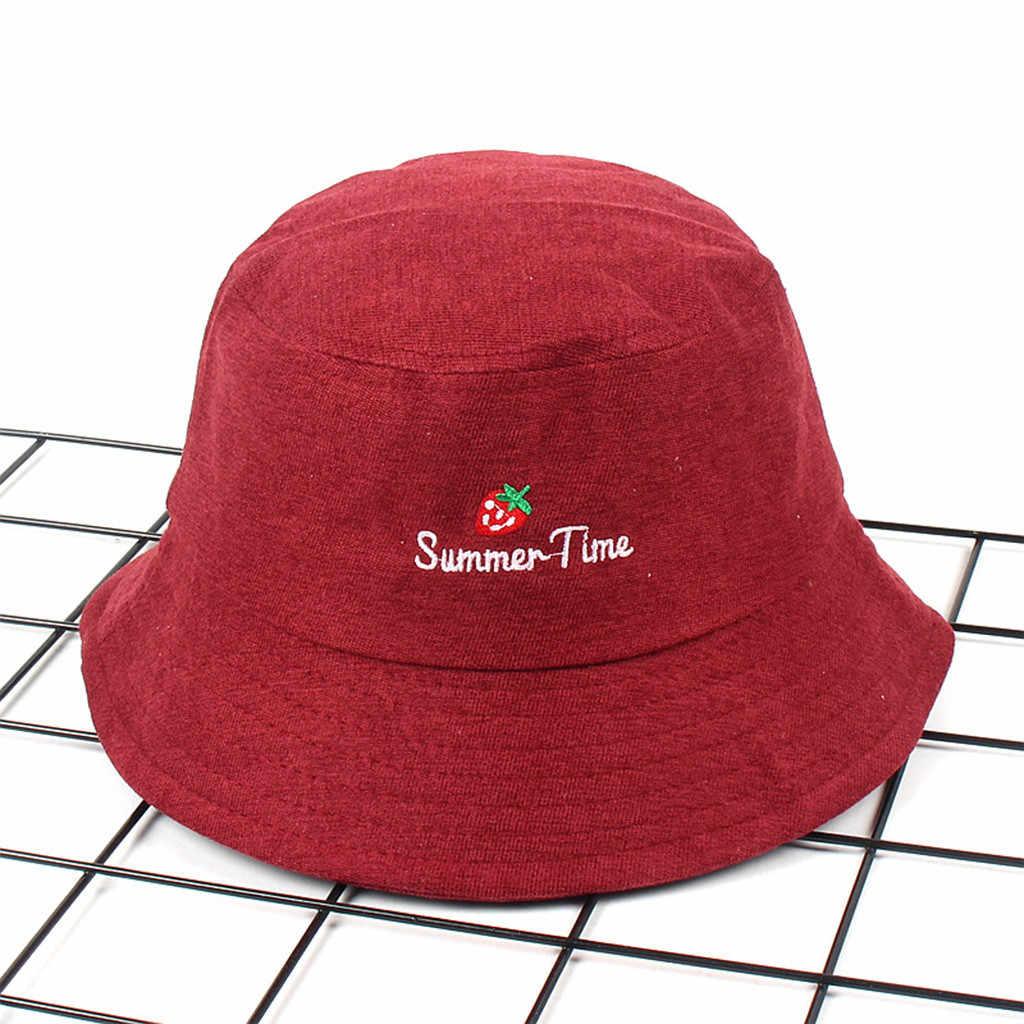 6a1a36668 Unisex Strawberry Embroidery Bucket Hat For Men Women Hip Hop Fisherman Hat  Adult Panama Bob Hat Summer Lovers Flat Hat Cap #