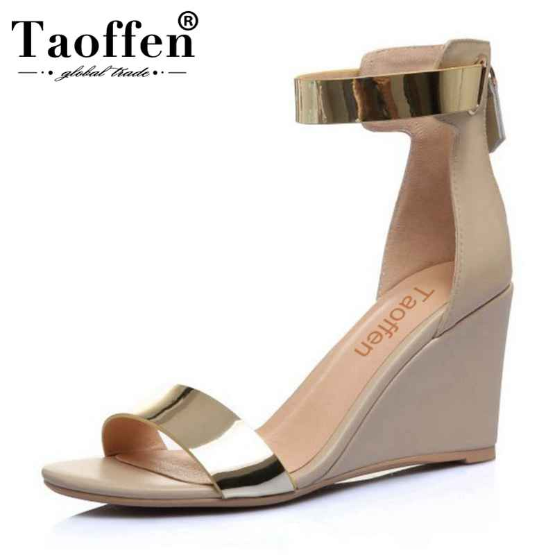TAOFFEN Women High Heel Shoes Ankle Strap Sandals Mixed Color Real Leather Women Sandals Sexy For