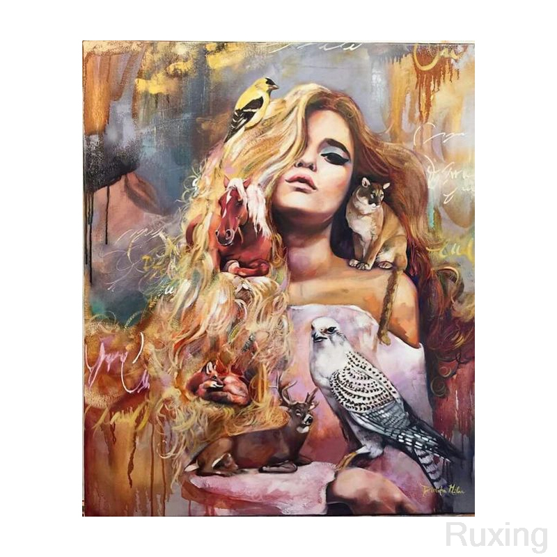 DIY Diamond Painting Blonde and animal oil painting Cross Stitch Needlework Diamond Embroidery Home Decoration Diamond gift in Diamond Painting Cross Stitch from Home Garden
