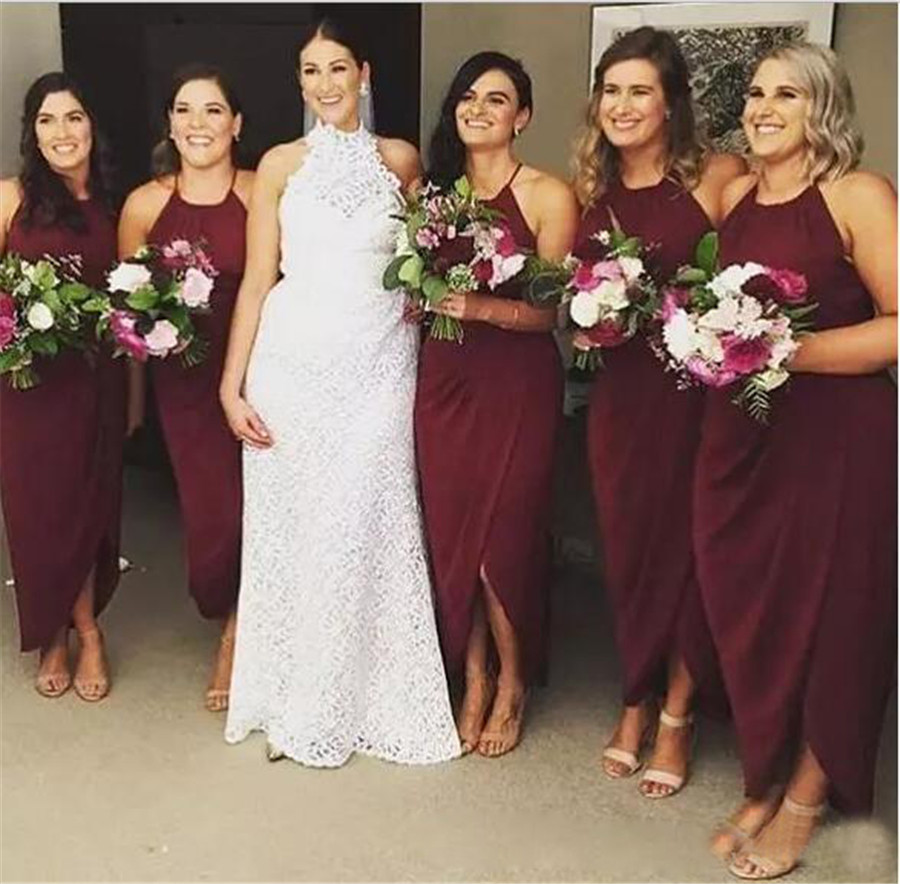 Burgundy Long   Bridesmaid     Dresses   Halter Backless Ankle Length Summer Wedding Party Gowns 2019 Cheap Maid of Honor   Dress