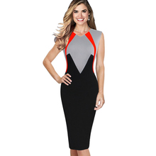Women Office Work Sleeveless Patchwork Summer Dress Elegant V-Neck Knee-Length Bodycon Pencil Dress EB445
