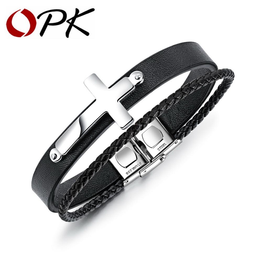 OPK Bracelets en cuir à la mode hommes Bracelets noir/doré/acier couleur acier inoxydable croix noir PU chaîne hommes bijoux cadeaux PH1232