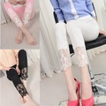 2016 Summer New Sexy Lace Pants Women Cotton Stretch Casual Pink Black White Slim Pencil Leggings 6046
