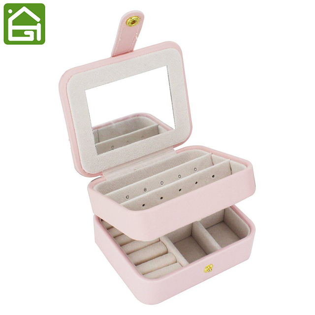 Small Travel Accessories Case Jewelry Storage Casket Leather Ring