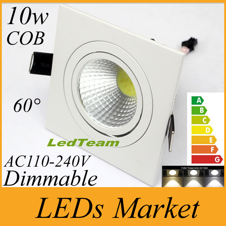 Cree cob led ceiling downlights dimmable 10w led recessed lights cree cob led ceiling downlights dimmable 10w led recessed lights square led down light lighting warm cold white 60angle 110 240v in downlights from lights aloadofball Image collections