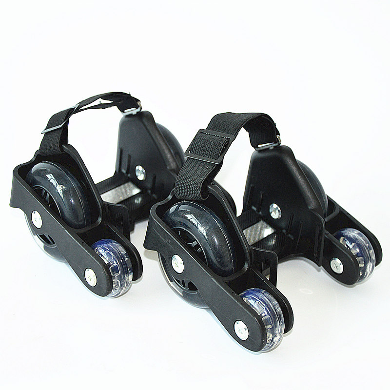 Children Sports 4 Wheels Pulley Lighted Flashing LED Wheels Heel Skate Rollers Skates Shoe Flashing Roller