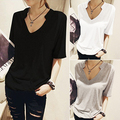2016 New Arrival Mulheres Summer Fashion Slim Fit Tee Casual Tops Decote Em V T-Shirt Cor Sólida 08WG