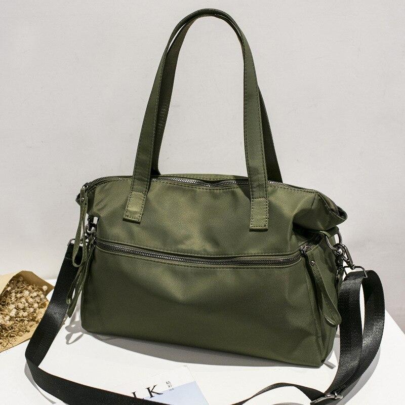 Waterproof Nylon Shoulder Bag Light Boston Duffle Handbag Overnight Tote Bag Casual Leisure Camouflage Crossbody Bag for Women