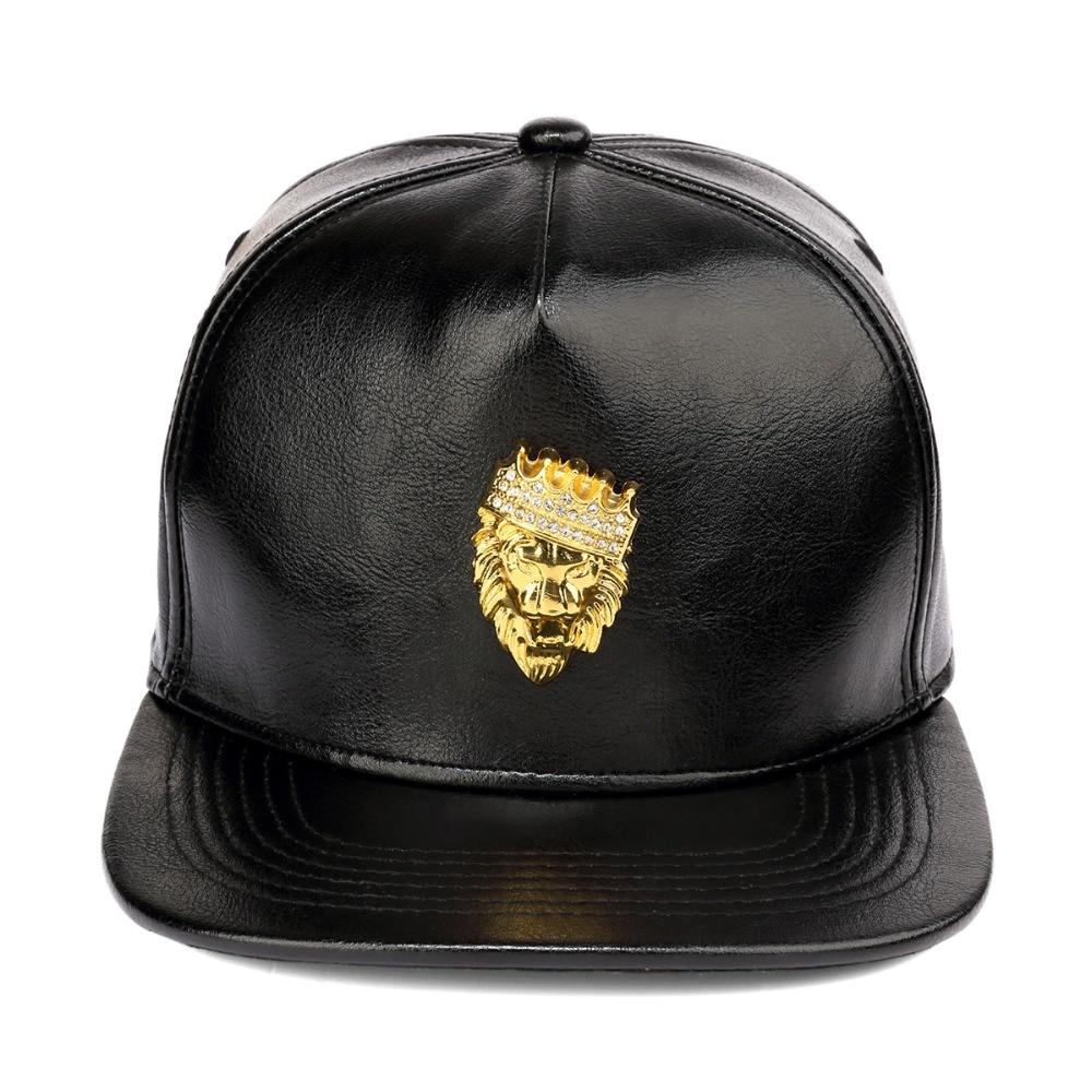Nyuk herren luxus einstellbare pu leder gold strass krone löwenkopf - Bekleidungszubehör - Foto 6