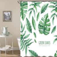 Hoja De plátano tropical Ducha cortinas Pufan caparazón De tortuga estampado De planta verde impermeable baño Ducha Cortina De Ducha