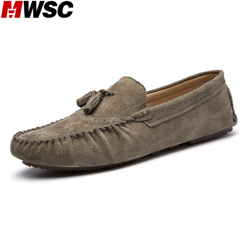 MWSC Brand Casual Driving Shoes Leather Moccasin Men's Flats Shoes Men Suede Leisure Footwear branded men s penny loafes casual men s full grain leather emboss crocodile boat shoes slip on breathable moccasin driving shoes