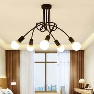 Image 5 - Скандинавская люстра в стиле лофт, винтажная потолочная лампа В индустриальном стиле, люстра со сгибающейся индивидуальностью для дома и магазина, паук chande