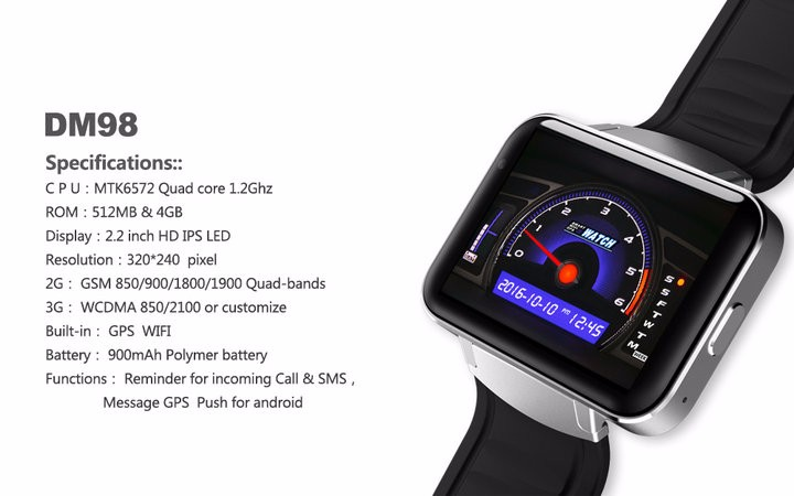 2.2-Display- 320240-LED-DM98-Smart-Watch-Android 5.1- MTK6572A-Dual-core -1.2G -900Mah -Camera-WIFI-3G-QQ-GPS-App-For-Smartphone (13)