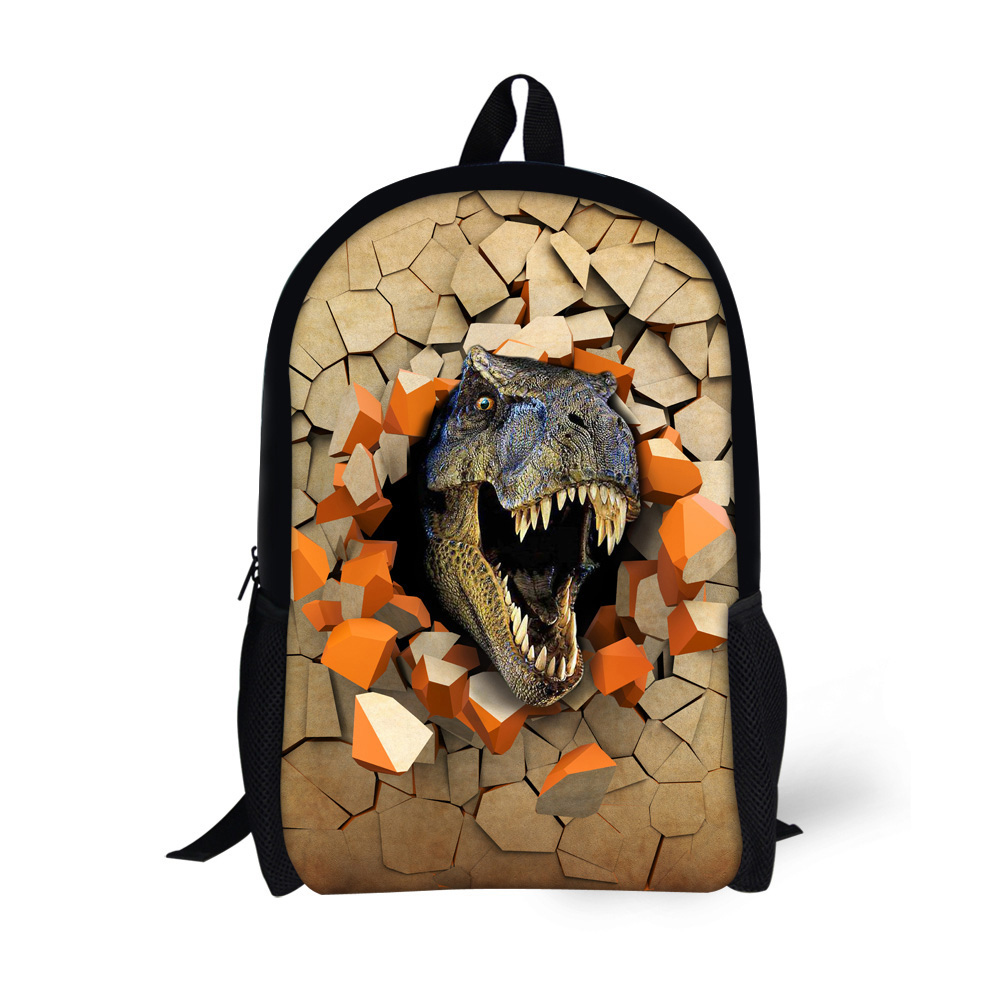 DESIGNS 3D Printing 6 Cool Dinosaur School Bags Students Backpacks For Children Boys Bookbags Medium Size Mochila Escolar