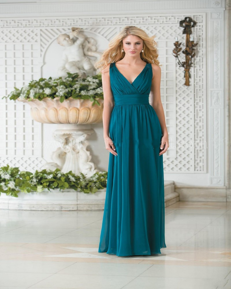 2016 Bridesmaid Dresses V Neck Teal Green Chiffon Plus Size Long A Line Lace Hollow Back Gowns In From Weddings Events On