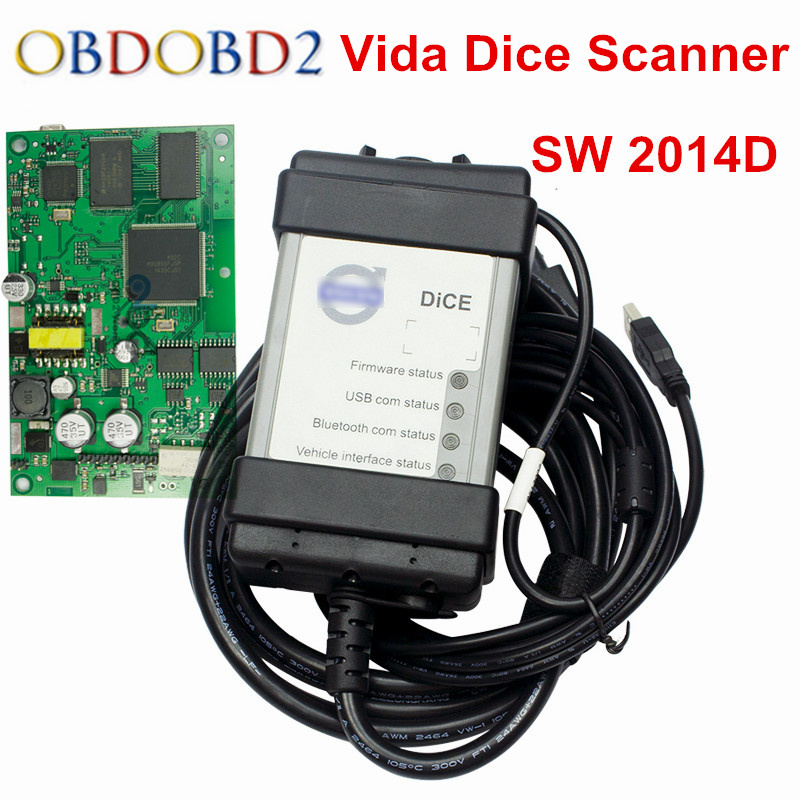 цена DHL Free Vida Dice Pro 2014D Diagnostic Cable Scanner For Volvo Vida Dice Software 2014D OBD 2 OBD II Interface Full Chip PCB