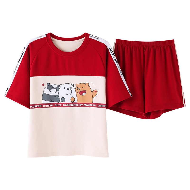 Fashion Color Block Women Cotton Pajama Set Korean Loose 2019 Summer Cartoon Bear Elastic Waist Sleepwear Lounge pyjamas S93213-in Pajama Sets from Underwear & Sleepwears