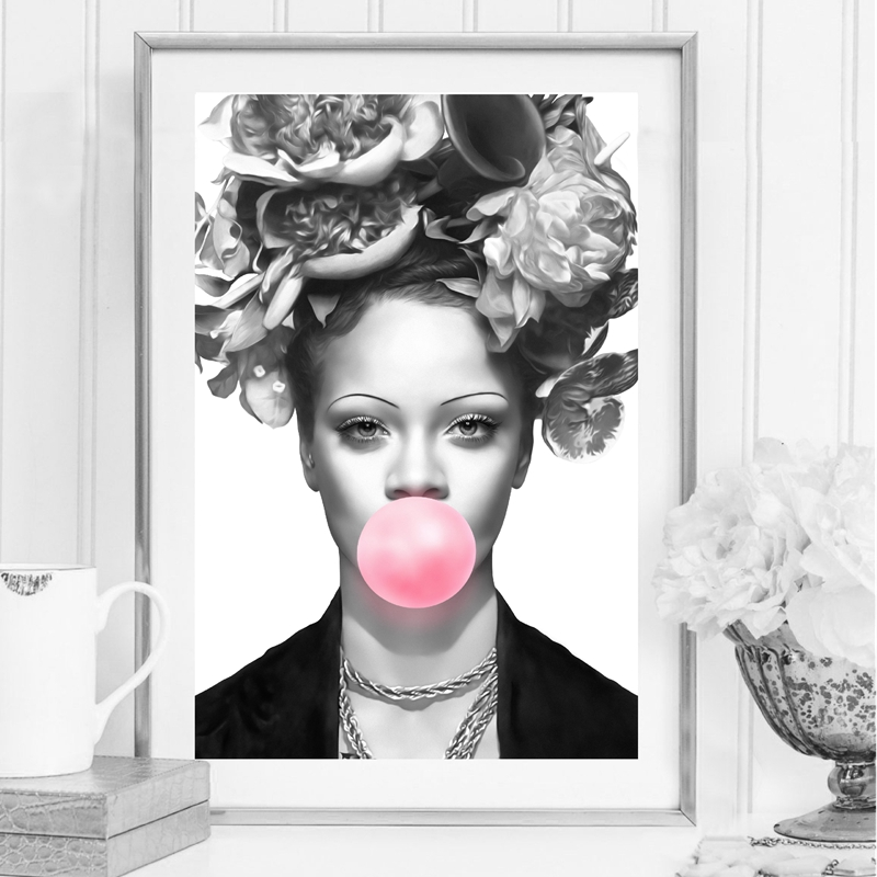 American actress model Bubble Gum Artwork Poster Prints Black White Wall Art Female singer Canvas Painting Wall Picture image