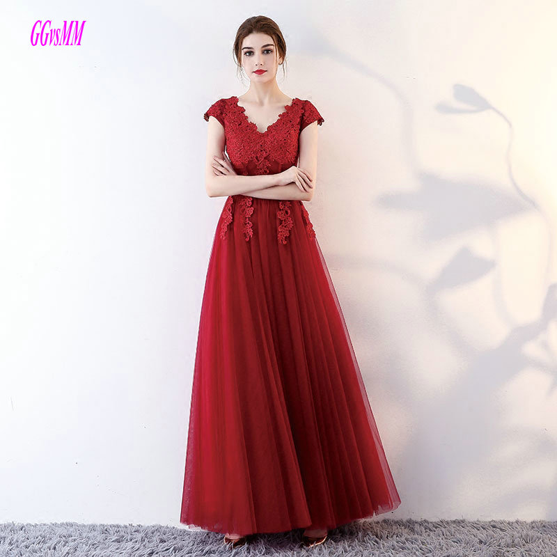 Fashion Burgundy Evening Gowns Long 2018 Sexy Formal Party Dresses V Neck Tulle Appliques Evening Dress Plus Size Custom Made