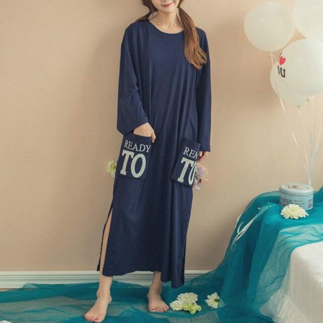 2017 Women Long Sleeve Nightgowns Ladies Autumn Casual Nightdress Letter Print Split Loose Mid-calf Sleepwear Cotton Sleep Robe