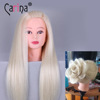 90 Human Real Hair Mannequin Head Salon 22 Blonde Training Hairdressing Dolls Head Practice Cosmetology Mannequins