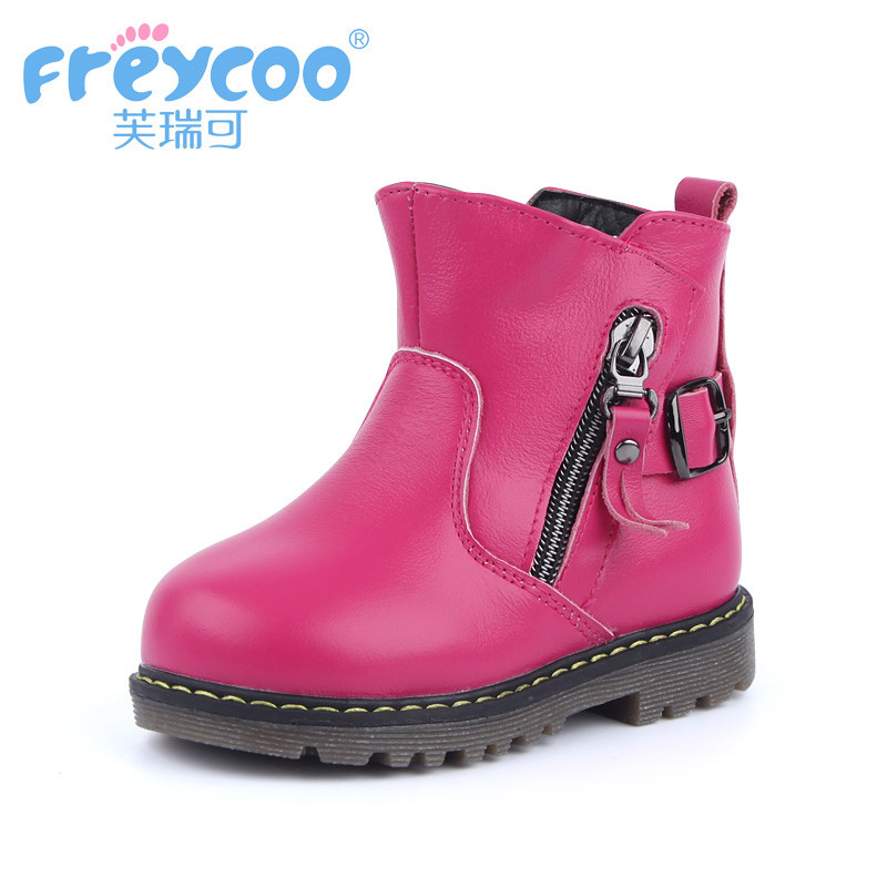 Freycoo 2019 New Leather Girl Martin Boots Children's Boots 2-5 Years Plus Down Snowboots Kids Shoes8109