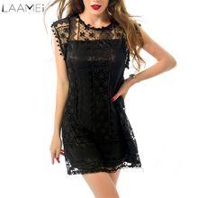 8ba23929016 Laamei New 2018 Fashion Summer O-Neck Mini Lace Dress Women Saxy Short  Sleeve Hollow Out Dresses Bodycom Slim Vestido Plus Size