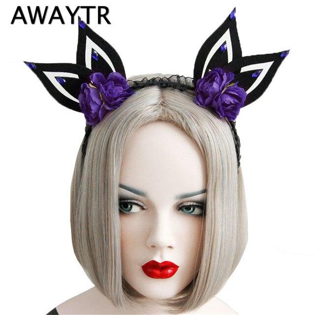 easter day halloween hair accessories rabbit ears flower crown headband for women halloween eve party hairband