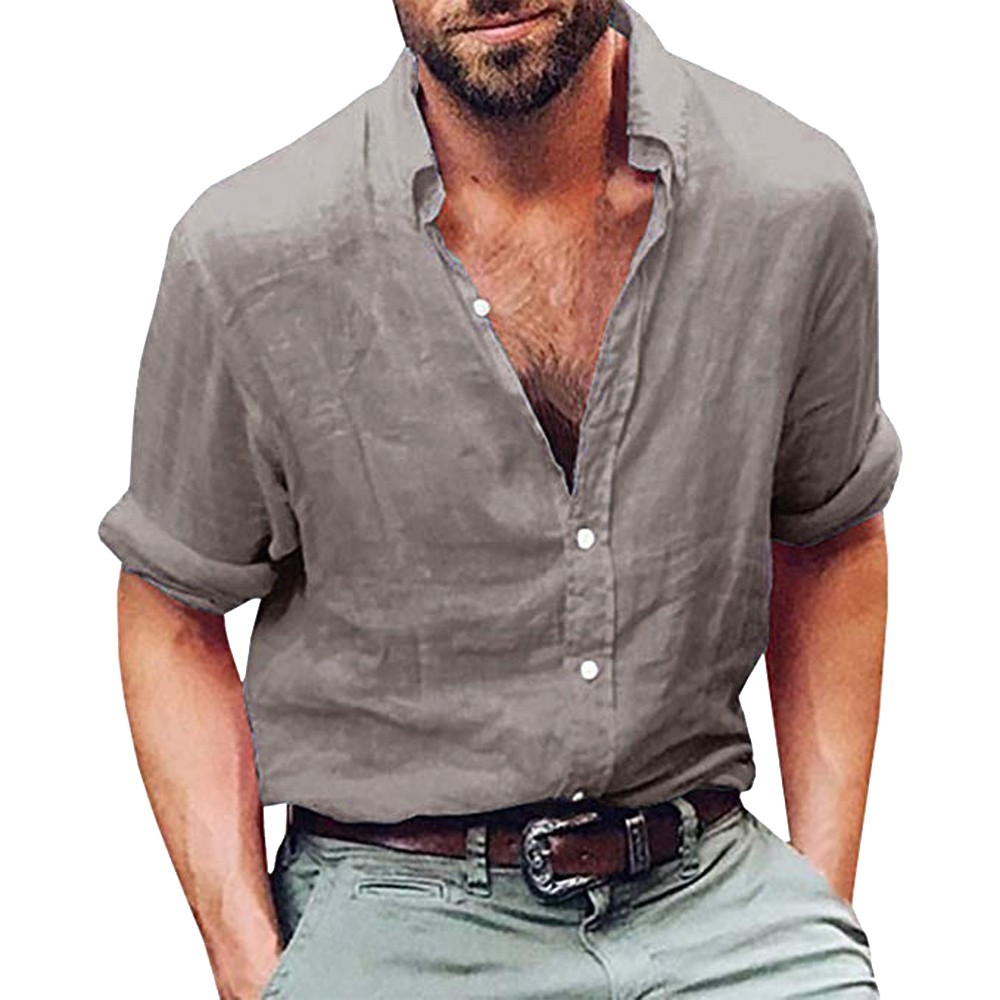 Mens Summer Casual Henley Shirt Leisure Beach Yoga Loose Fit Vacation Tops Blouse