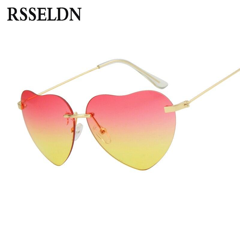 RSSELDN Fashion Heart Shaped Sunglasses Women Brand Designer Gradient Lens Retro Sun Glasses for Women Rimless Sunglass oculos