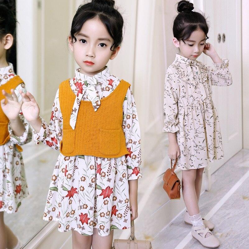 2018 Children Outwear Spring Teenage Girls Clothes Set Toddler Kids Baby Outfits Vest + Floral Print Dress 2pcs Set 11 12 13 14