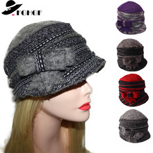 Womens Thick Winter Hats Super Warm Pure Wool Cap Ladies Cloche Bucket Fedoras Hat Wrinkled Beanie With Elegant Bow