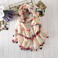 Colorful Stripe Scarves Women Scarf Summer Tassels Sunscreen Beach Sarongs Brand New